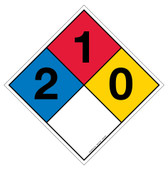 "12"" NFPA Hazard Rating Diamond Decal 2,1,0"