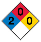 "12"" NFPA Hazard Rating Diamond Decal 2,0,0"