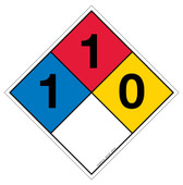 "12"" NFPA Hazard Rating Diamond Decal 1,1,0"
