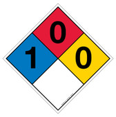 "12"" NFPA Hazard Rating Diamond Decal 1,0,0"