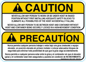 """5 X 7"""" Caution, Never Allow Person to Work Under Hoist in Raised Position, Bilingual"""