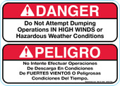 """5 x 7"""" Danger Do Not Attempt Dumping Operations In High Winds (Bilingual) Decal"""