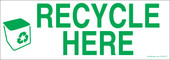 "3 x 8.5"" Recycle Here Sticker"