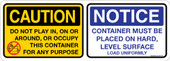 """5 x 14"""" Multi Message Caution Notice Roll Off Container Decal"""