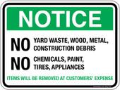 "5 x 7"" Notice No Yard Waste, Wood, Metal, Construction Debris No Chemicals, Paint, Tires, Appliances Sticker Decal"