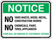 "5 x 7"" Notice No Yard Waste, Wood, Metal, Construction Debris No Chemicals, Paint, Tires, Appliances Sticker Decal"