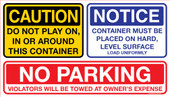 """8 x 14"""" Caution Notice No Parking Container Decal"""