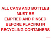 "9 x 12"" All Cans and Bottles Must Be Emptied And Rinsed Decal"