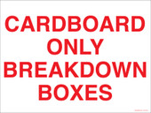"""9 x 12"""" Cardboard Only Breakdown Boxes Container Decal"""