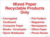 "9 x 12"" Mixed Paper Recyclable Products Only. Recycling Container Sticker Decal."