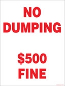"9 x 12"" No Dumping $500 Fine Decal. No Dumping Sticker."