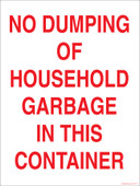 "9 x 12"" No Dumping of Household Garbage. Garbage Decal."