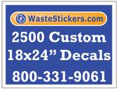 Package of 2500 Custom 18 X 24 Inch Vinyl Decals.