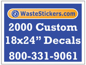 Package of 2000 Custom 18 X 24 Inch Vinyl Decals.