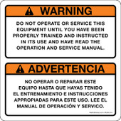"""5 x 5"""" Warning Do Not Operate Or Service This Equipment Until You Have Been Properly Trained And Instructed In Its Use And Have Read The Operation And Service Manual"""