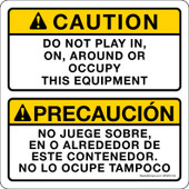 "5 x 5"" Caution Do Not Play In On Around Or Occupy This Equipment Sticker Decal"