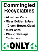 "13 x 18"" Commingled Recyclables Only Decal"