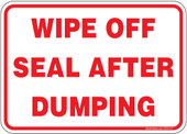 "5 x 7"" Wipe Off Seal After Dumping Sticker Decal"