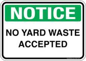 "5 x 7"" Notice No Yard Waste Accepted Sticker Decal"