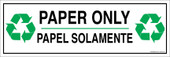 "4 x 12"" Paper Only Bilingual Sticker Decal"