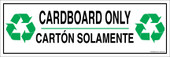 "4 x 12"" Cardboard Only Bilingual Sticker Decal"
