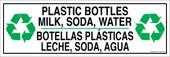 "4 x 12"" Plastic Bottles Milk Soda Water Bilingual Sticker Decal"