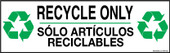 "4 x 12"" Recycle Only Bilingual Sticker Decal"