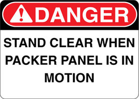 Danger Decal Stand Clear When Packer Panel Is In Motion Sticker
