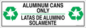 "4 x 12"" Aluminum Cans Only Bilingual Sticker Decal"