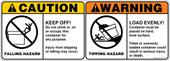 "5 x 14"" Caution Falling Hazard & Warning Tipping Hazard"