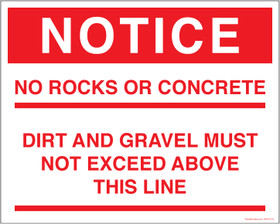 Notice No Rocks Or Concrete Loading Level Decal.