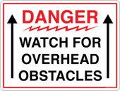 "9 x 12"" Danger Watch For Overhead Obstacles Sticker Decal"