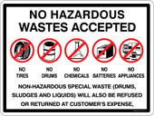 No Hazardous Wastes Accepted Container Sticker