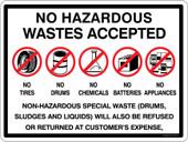 No Hazardous Wastes Accepted Container Sticker