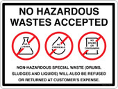 No Hazardous Wastes Accepted Container Decal