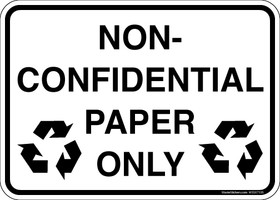 Non-Confidential Paper Only Recycling Sticker