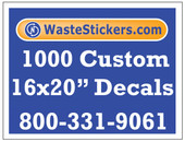 Package of 1000 Custom 16 X 20 Inch Vinyl Decals.