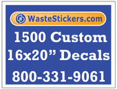 Package of 1500 Custom 16 X 20 Inch Vinyl Decals.