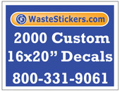 Package of 2000 Custom 16 X 20 Inch Vinyl Decals.