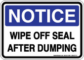 "5 x 7"" Notice Wipe Off Seal After Dumping Sticker Decal"