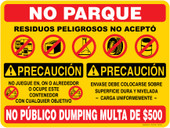 9 x 12 Multi Message Container Decal Spanish Do Not Park $500 Fine Caution Container Decal