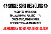 "7 x 11"" Single Sort Recycling Absolutely No Garbage or Glass Decal"