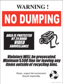 Warning Area Is Protected By 24 Hour Camera Video Surveillance.  Violators Will Be Prosecuted.  Minimum $500 Fine For Leaving Any Items Outside Of the Bins.  Please Respect The Environment.  Recycle Responsibly. Sticker