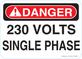 "5 x 7"" Danger 230 Volts Single Phase Decal"