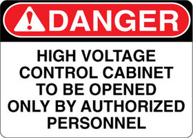 Danger Decal High Voltage Control Cabinet To Be Opened Only By Authorized Personnel Sticker
