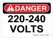 "5 x 7"" Danger 220 240 Volts Sticker Decal"