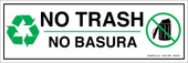 "4 x 12"" No Trash Bilingual Sticker Decal"