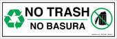 "4 x 12"" No Trash Bilingual Sticker Decal"