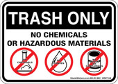 "5 x 7"" Trash Only No Chemicals or Hazardous Material Sticker Decal"