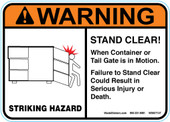 "5 x 7"" Warning Stand Clear Sticker Decal"